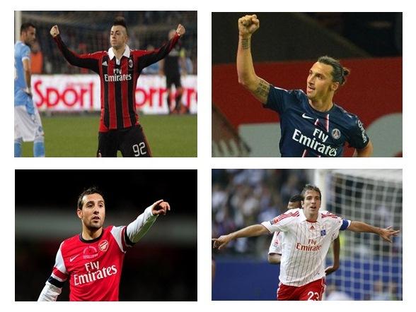 (Dari pojok kiri atas searah jarum jam) : Stephan El Shaarawy - AC Milan; Zlatan Ibrahimovic - PSG; Rafael van der Vaart - Hamburg FC; Santi Cazorla - Arsenal; klub sepak bola dengan sponsorship dari Emirates